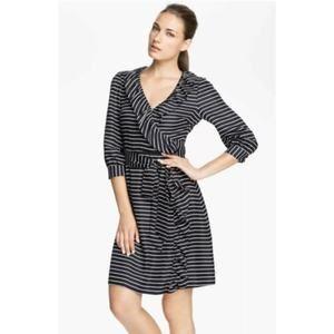 Kate Spade Silk Wrap Dress Ruffled Striped Blue